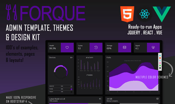 Forque - Vue React Admin Theme & Template for Bootstrap 4.