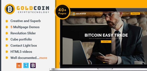 GoldCoin and bitcoin cryptocurrency HTML Template