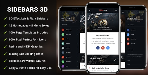 Sidebars 3D and complete mobile and tablet template themes.
