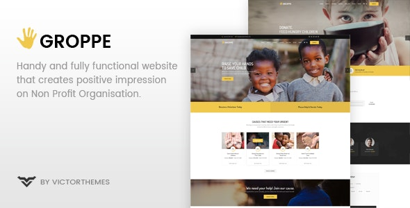 Groppe is a fully functioned and fundraising charity WordPress theme