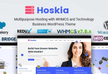 Hoskia is a Multipurpose Hosting with WHMCS WordPress Theme