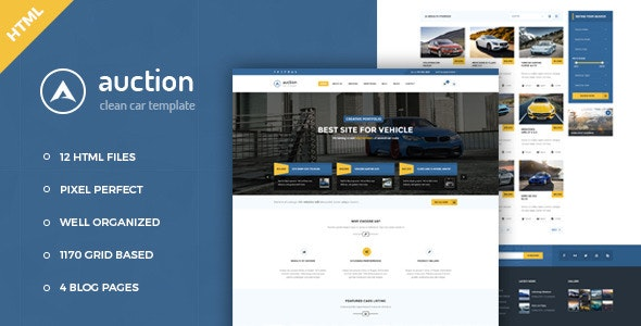 Auction it has nice clean & fully responsive HTML Template.