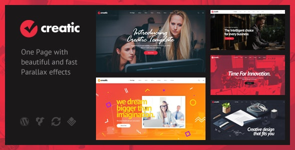 Creatic is a one-page creative parallax WordPress Theme