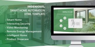 Ingenious is a unique and flexible Smart Home HTML Template.
