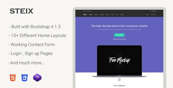 Steix is a one-page multi-purpose landing page template
