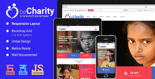 beCharity is a fully responsive retina-ready HTML5 charity template